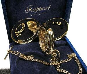 ラポート懐中時計  スケルトンタイプ 手巻き (イギリスRapport社製)金色メッキ PW90 [送料無料]