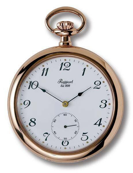ラポート懐中時計  オープンフェイスタイプ 手巻き ローズゴールド金時計 (イギリスRapport社製)PW83 [送料無料
