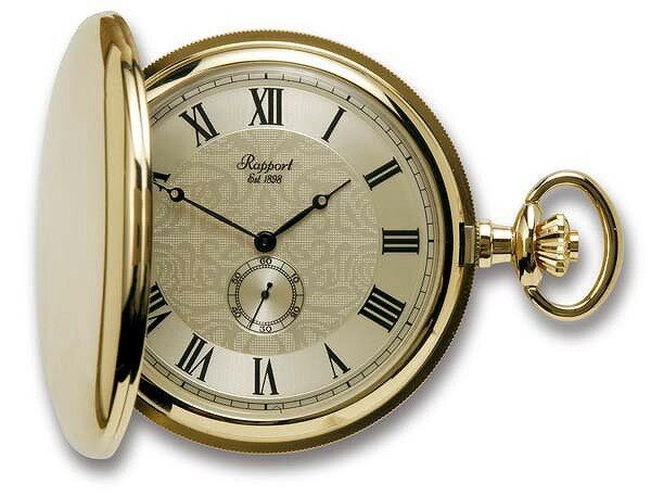 ラポート懐中時計  フルハンタータイプ クォーツ (イギリスRapport社製)金メッキ PW84 [送料無料]