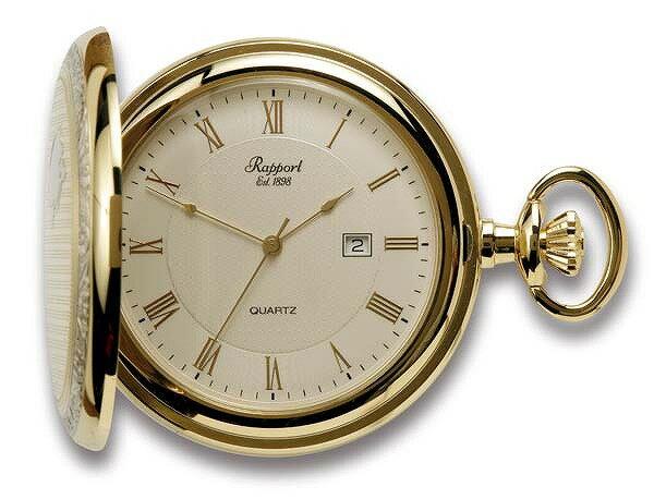 ラポート懐中時計  フルハンタータイプ クォーツ (イギリスRapport社製)金メッキ PW93 [送料無料]