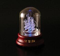 帆船ガラスシップオルゴールサンタマリア号サンキョー製(日本)YA-370A