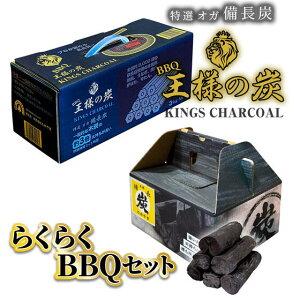 【BBQに!】王様の炭 3kg らくらくBBQ 3kg セット BBQ キャンプに最適 バーベキュー おが炭 オガ炭 備長炭 炭 おすすめ 七輪 使い切り