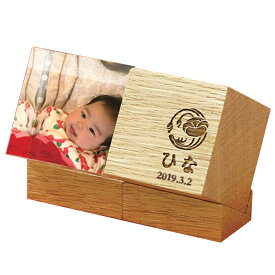 COLO コロ 名前彫刻木製キューブ フォトアクリルキューブ お名前・生年月日・花個紋が入ります 名前立て 徳永鯉 2019年新作ひな人形 雛人形 五月人形 徳永鯉