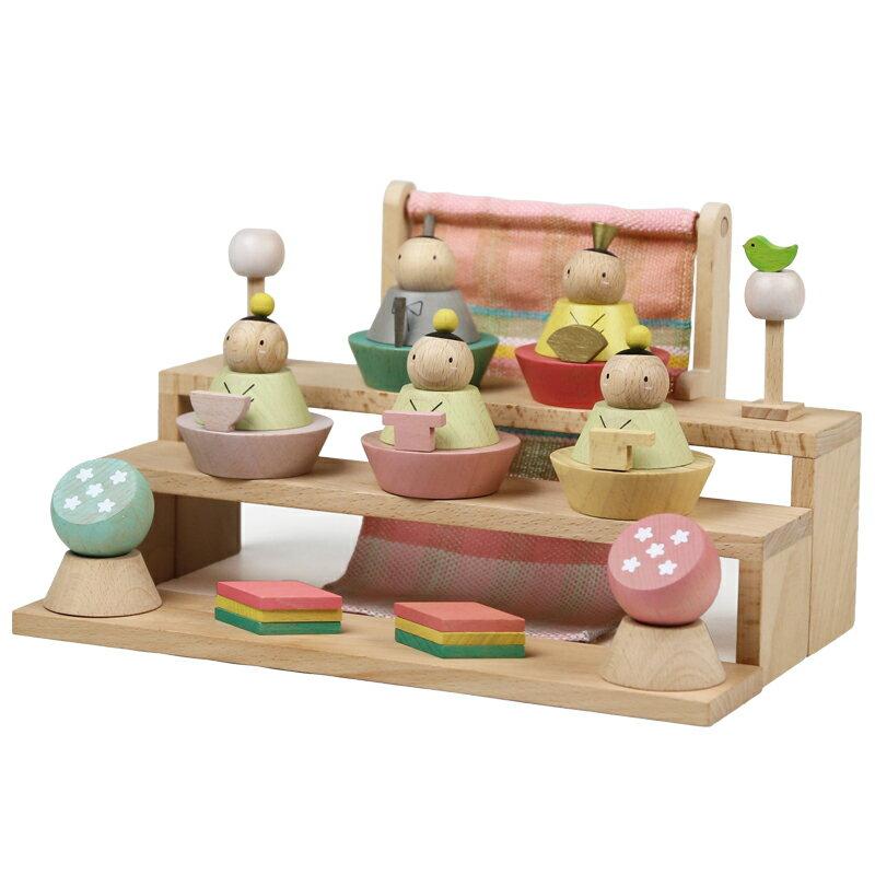 プーカのひな人形 雛人形 コンパクト ミニ 五人飾り puca 木製 積み木 徳永鯉 同時購入にて木札1円対象商品 ポイント5倍