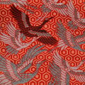 西陣織金襴『鱗紋様オレンジ色』10cmからの切り売り京都西陣織金襴・生地・和柄・和小物・人形衣装・和雑貨・バッグ・祭衣装・インテリア・ランチョンマット・アパレル等に!