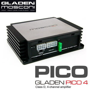 GLADEN MOSCONI(グラデン モスコニ) GLADEN PICO 44チャンネルD級小型アンプ【保証書付き】※RCA入力の場合は別売りの EXT4RCA をお買い求めください