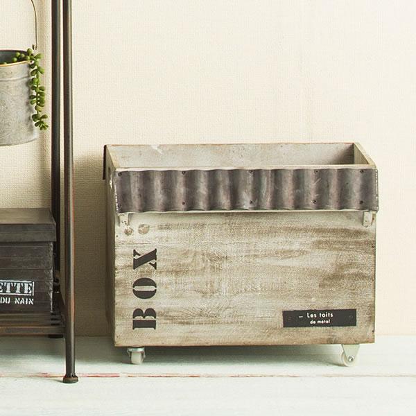 キャスターボックス 2カラー トタン屋根がついたナチュかっこいい木製アイテム インテリア/ガーデン/木箱/小物売れ/収納/キャスター付き