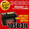 供INDIGO(靛藍)105D31L國產車使用的電池(密閉型)