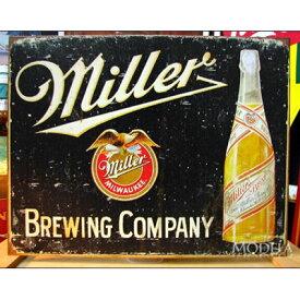 ブリキ看板 Miller/ミラービール 醸造 アメリカ雑貨/アメ雑貨/ガレージ/インテリア/レトロ/ブリキプレート