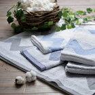 京都西川オーガニックタオルケットNX-6001柄をジャガード織りで表現した柔らかい肌触り家庭洗濯OK