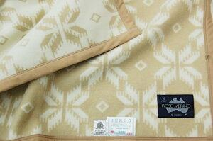 西川ローズメリノウール毛布【京都西川】シングルサイズ140cm×200cm西川毛布1.2kgウール毛布[ピンク/ベージュ]日本製1577
