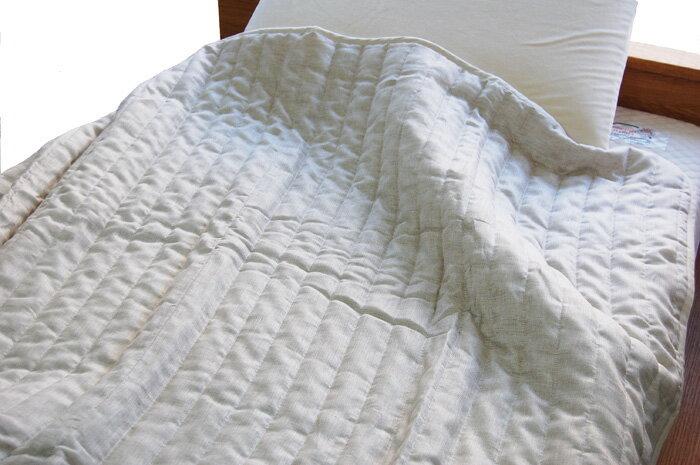 リネンガーゼ キルトケット 本麻 肌掛けふとん シングルサイズ 生地:麻100% 中綿:綿麻100% 夏に最適 クール冷たい 肌触り ひえひえ寝具 天然素材