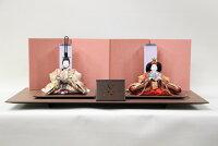 雛人形清水久遊作ひいな親王飾り芥子サイズ帯地39-39四曲金屏風越前布目黒平台セット