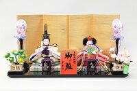 雛人形おしゃれコンパク親王飾り豆極小親王金襴(白・赤)19-40