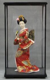 9インチ 日本人形 扇子 赤【ケース付】