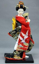 【9インチ日本人形舞い扇鶴 】 【楽ギフ_包装】【楽ギフ_のし宛書】