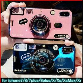 【全2色】iPhone7/8 iPhone7Plus/8Plus iPhoneX/Xs iPhoneXs max iPhoneXr カメラ風 伸縮式グリップ ケース|スタンド コード巻き ソフト カバー 送料無料