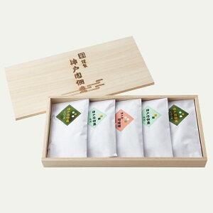 <特製木箱入>神戸肉肉味噌 佃煮セット5個入り(そぼろ2個・角煮2個・肉味噌1個)【ギフトタグ】