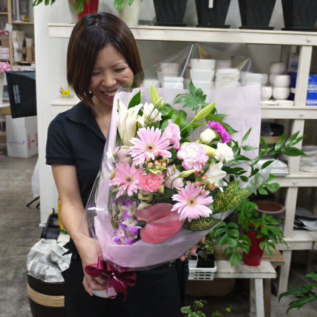【送料無料(一部地域を除く)】スマイルブーケ♪笑顔が溢れる花束です。【あす楽対応で即日発送】【ご出演・発表会】【ご退職・歓送迎会】【誕生日】【母の日】