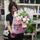 ガーベラロングブーケ♪笑顔が溢れる花束です。【誕生日・お祝い】【ご出演・発表会】【ご退職・歓送迎会】【あす楽】【送料無料】