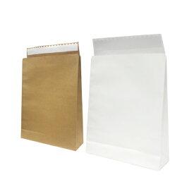 【紙袋】モロフジ宅配袋 大 320×100×430+55mm(200枚入り) 無地 梱包袋 テープ付き 角底袋