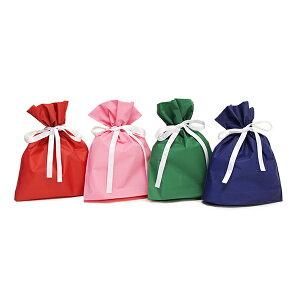 梨地 巾着袋 サテンリボン付 220×270mm 【20枚入】 ギフト プレゼント ビニール ラッピング おしゃれ リボン 袋