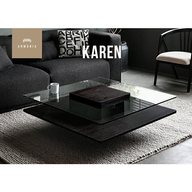 テーブル ガラステーブル センターテーブル 正方形 リビングテーブル ナイトテーブル ガラス 木製 ウォールナット モダン 北欧 シンプル インテリア 家具 Karen