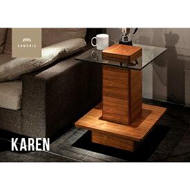 サイドテーブル テーブル ナイトテーブル コーヒーテーブル 木製 ガラス オーク ウォールナット シンプル インテリア 家具 北欧 モダン Karen