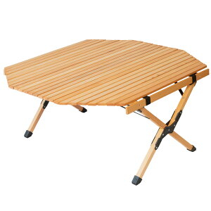 アウトドア キャンプ テーブル ウッド 木製 ロールトップテーブル ウッドテーブル 折りたたみ 折り畳み コンパクト 90cm ロール おしゃれ ガーデンテーブル バーベキュー BBQ ファミリー キャ