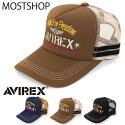 AVIREXアビレックスナンバリング刺繍メッシュキャップユニセックス男女兼用野球帽帽子メンズ小物通販新作人気おしゃれ春夏服