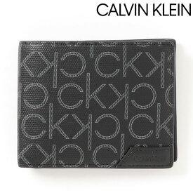 送料無料 Calvin Klein カルバンクライン オールオーバー2つ折り財布 ロゴ プリント ギフト プレゼント MOSTSHOP