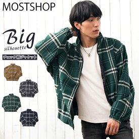 送料無料 ワイドシルエット スイングトップ メンズ ジャケット タータンチェック 秋 冬 全4色 M-XL MOSTSHOP