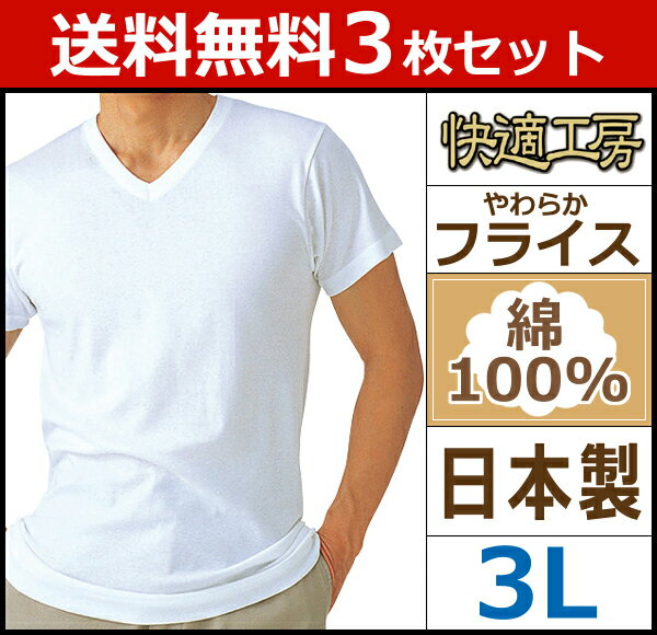 送料無料3枚セット 快適工房 半袖V首Tシャツ 3Lサイズ 日本製 グンゼ GUNZE   メンズ インナー 半袖 インナーシャツ 肌着 男性 tシャツ アンダーウェア アンダーシャツ 紳士肌着 インナーtシャツ 大きいサイズ tシャツ 下着 メンズ肌着 セット メンズ下着