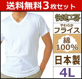 送料無料3枚セット 快適工房 半袖V首Tシャツ 4Lサイズ 日本製 グンゼ GUNZE | メンズ 男性 インナー インナーシャツ 下着 セット 肌着 半袖 男性下着 メンズ肌着 紳士肌着 tシャツ アンダーウェア アンダーシャツ tシャツ インナーtシャツ メンズインナーシャツ シャツ