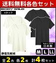 2色2枚ずつ 送料無料4枚セット HOTMAGIC ホットマジック 静電気軽減 VネックTシャツ 半袖V首 グンゼ GUNZE 日本製 防…