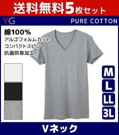 送料無料5枚セット YG ワイジー COTTON 綿100% VネックTシャツ Mサイズ Lサイズ LLサイズ 3Lサイズ グンゼ GUNZE | メンズ インナーシャツ 下着 セット 肌着 大きいサイズ 男性下着 メンズ下着 メンズ肌着 tシャツ アンダーウェア メンズインナー インナー シャツ 紳士肌着