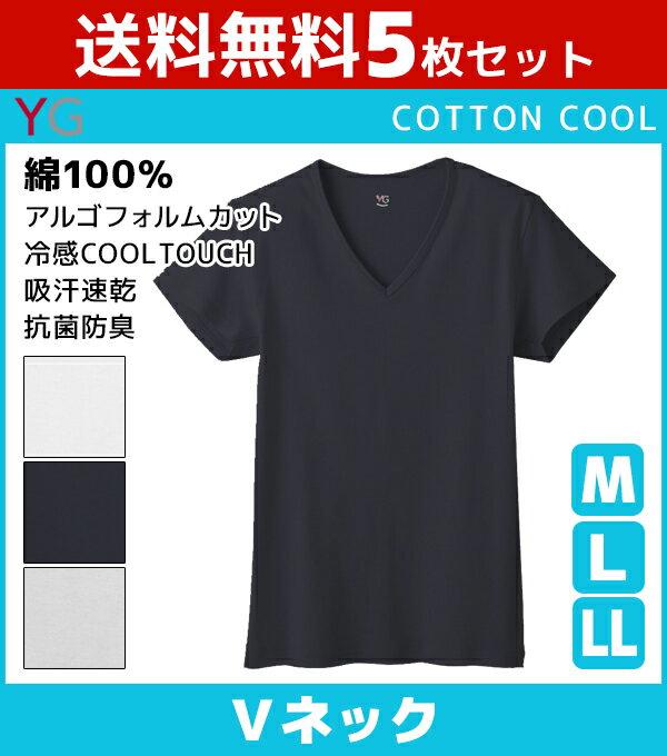 送料無料5枚セット YG ワイジー COTTON COOL VネックTシャツ Mサイズ Lサイズ グンゼ GUNZE | 夏 涼しい 涼感 夏用 メンズ インナー クール 大きいサイズ ひんやり 男性下着 tシャツ 下着 インナーシャツ クールビズ メンズ肌着 シャツ セット 冷感シャツ