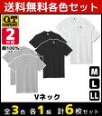 3色1組ずつ 送料無料3組セット 計6枚 G.T.HAWKINS ホーキンス VネックTシャツ 2枚組 グンゼ GUNZE | メンズ インナー …