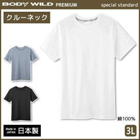 BODYWILD ボディワイルド PREMIUM プレミアム クルーネックTシャツ 半袖丸首 3Lサイズ グンゼ GUNZE 綿100% 日本製 ボディーワイルド BODY WILD   メンズ インナーシャツ tシャツ メンズインナー ティーシャツ インナー メンズ肌着 男性下着 シャツ 紳士肌着 大きいサイズ