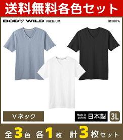 3色1枚ずつ 3枚セット BODYWILD ボディワイルド PREMIUM プレミアム VネックTシャツ 半袖V首 3Lサイズ グンゼ GUNZE 綿100% 日本製 ボディーワイルド BODY WILD   メンズ インナーシャツ tシャツ メンズインナー ティーシャツ メンズ肌着 男性下着 紳士肌着 大きいサイズ