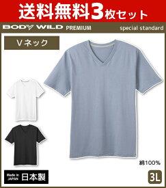 3枚セット BODYWILD ボディワイルド PREMIUM プレミアム VネックTシャツ 半袖V首 3Lサイズ グンゼ GUNZE 綿100% 日本製 ボディーワイルド BODY WILD   メンズ インナーシャツ tシャツ メンズインナー 紳士 ティーシャツ インナー メンズ肌着 男性下着 紳士肌着 大きいサイズ
