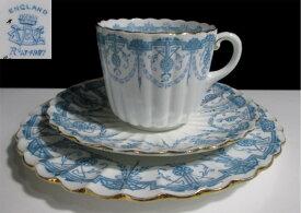【19世紀英国アンティーク】ワイルマンコーヒーカップトリオ 【Lace Border】