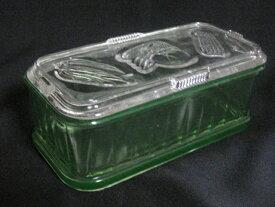 【アンティーク ウランガラス】 長方形のボックス【難あり】