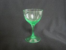 【アンティーク ウランガラス】 クリスタルグラスのワイングラス