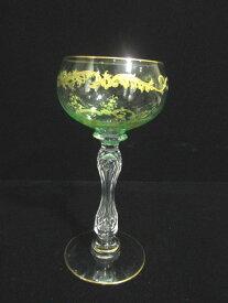 【ヴィクトリアン アンティーク ウランガラス】 クリスタルグラスのワイングラス