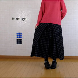 【SALE30%OFF】 tumugu(ツムグ)ウールコットンチェック マルチwayスカート TB20328【bs】
