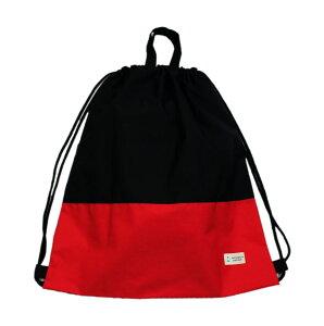 【ナップ 大容量 巾着L】ナップサックタイプ (ツートンカラー)撥水防水生地 スポーツバッグ プールバッグ (黒xレッド)