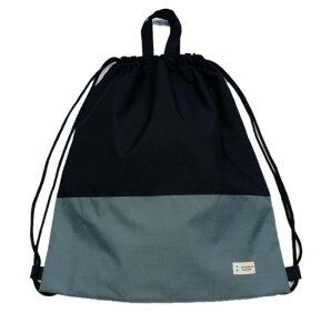 【ナップ 大容量 巾着L】ナップサックタイプ (ツートンカラー)撥水防水生地 スポーツバッグ プールバッグ (黒xグレー)