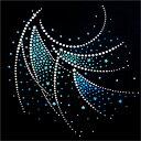 【スパングル】 スパンコールモチーフ (レオタード ブルー系) アイロン接着可 XLサイズ
