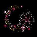 【スパングル】 スパンコールモチーフ (桜の枝飾り) アイロン接着可 Lサイズ